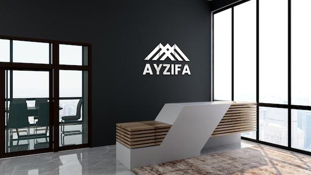 Maquette de bureau de logo moderne dans la salle de réception