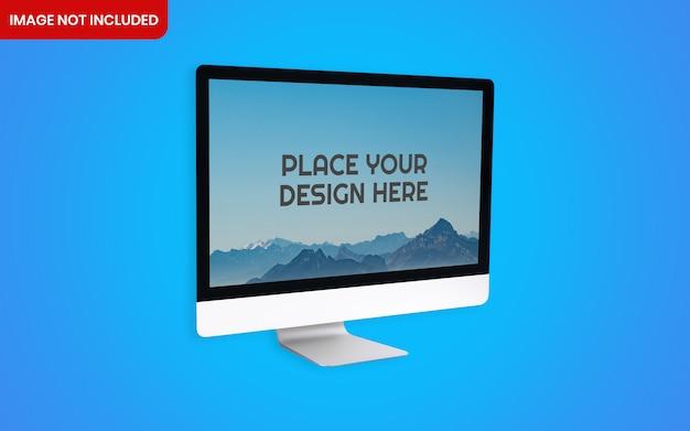 Maquette de bureau d'ordinateur imac réaliste avec fond bleu