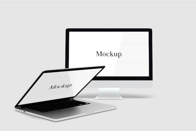 Maquette de bureau et d'ordinateur portable