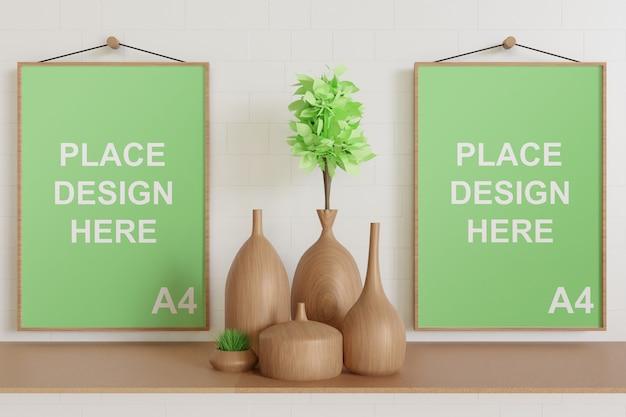 Maquette de cadre accrochée au mur avec vase en bois