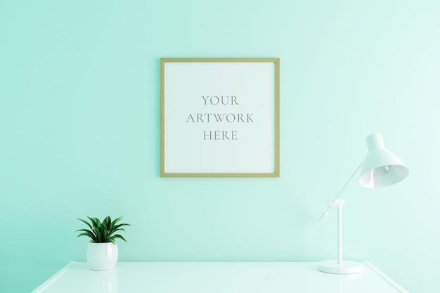 Maquette de cadre d'affiche en bois carré sur la table de travail à l'intérieur du salon sur fond de mur de couleur blanche vide. rendu 3d.