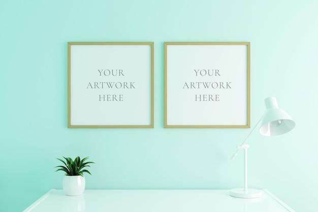 Maquette de cadre d'affiche en bois vertical sur la table de travail à l'intérieur du salon sur fond de mur de couleur blanche vide. rendu 3d.