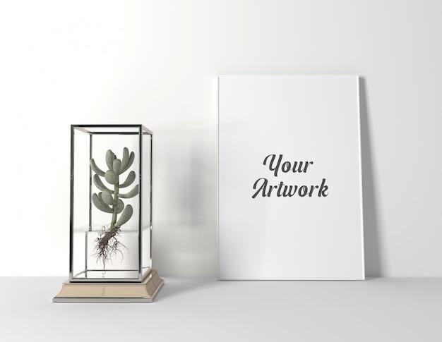 Maquette de cadre d'affiche avec cactus