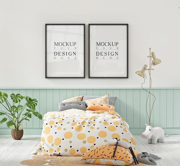 Maquette de cadre d'affiche dans la chambre d'enfants de couleur pastel