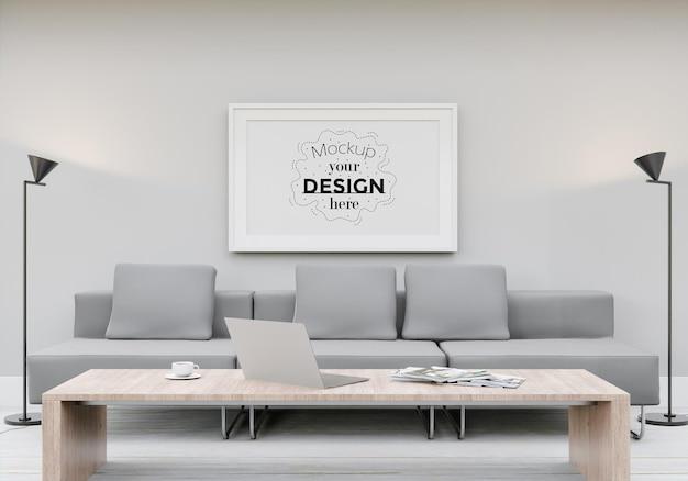 Maquette de cadre d'affiche dans le salon