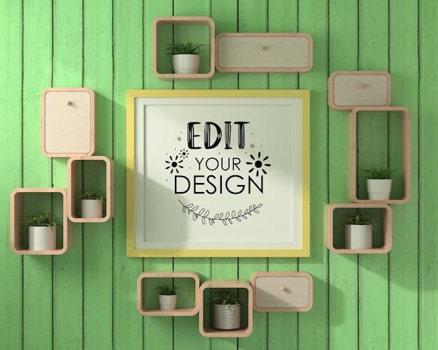 Maquette de cadre d'affiche avec étagère sur mur vert