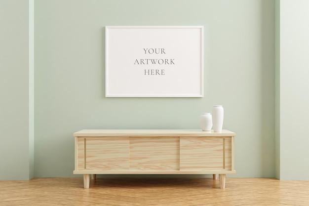 Maquette de cadre d'affiche horizontale blanche sur une table en bois à l'intérieur du salon sur fond de mur de couleur pastel vide. rendu 3d.