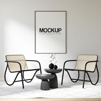 Maquette de cadre d'affiche d'intérieur avec décoration de meubles modernes