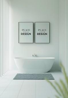 Maquette de cadre d'affiche sur l'intérieur de la salle de bain