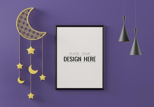 Maquette de cadre d'affiche avec salon de décoration intérieure de ramadan