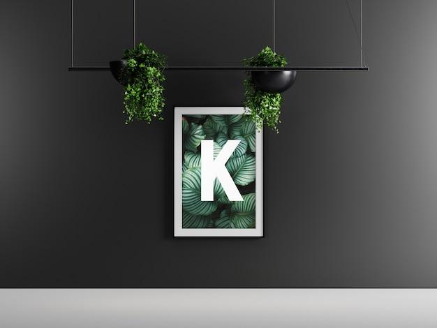 Maquette de cadre d'affiche unique sombre