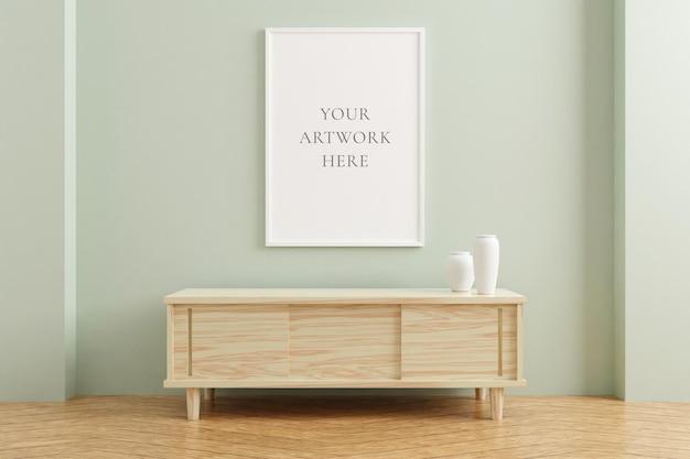 Maquette de cadre d'affiche verticale blanche sur une table en bois à l'intérieur du salon sur fond de mur de couleur pastel vide. rendu 3d.