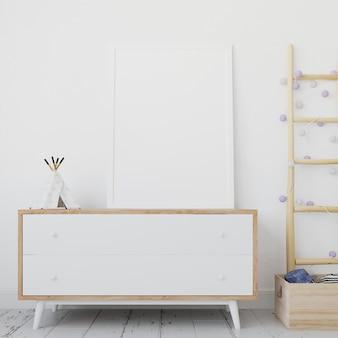 Maquette de cadre blanc blanc sur table en bois