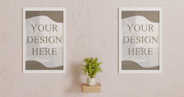 Maquette de cadre blanc couple sur mur avec décoration végétale