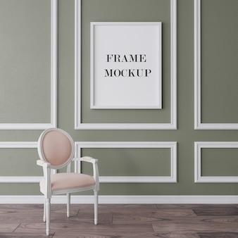 Maquette de cadre blanc dans un intérieur classique