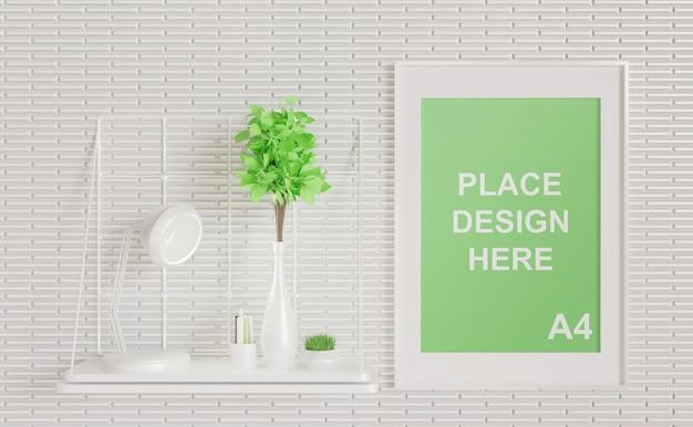 Maquette de cadre blanc minimalisme sur le mur