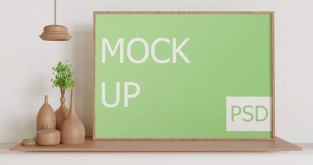 Maquette de cadre en bois paysage sur la table en bois