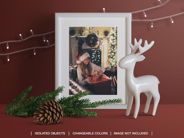 Maquette de cadre de carte photo de voeux de vacances avec créateur de scène de décoration de noël