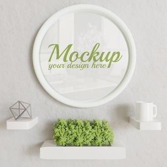 Maquette de cadre de cercle blanc sur le mur