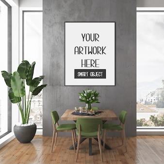 Maquette de cadre, chambre avec cadre vertical noir