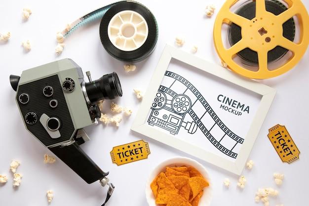Maquette de cadre de cinéma vue de dessus