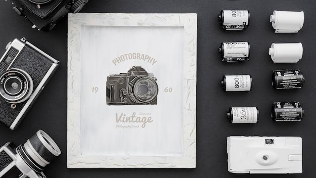 Maquette de cadre avec le concept de la photographie