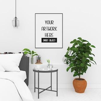 Maquette de cadre dans la chambre avec cadre vertical noir