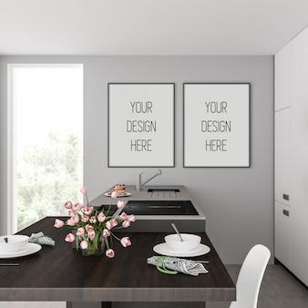 Maquette de cadre dans la cuisine avec des cadres verticaux noirs