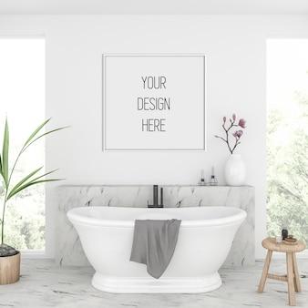 Maquette de cadre dans la salle de bain avec cadre carré blanc