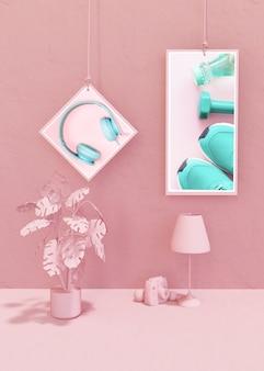 Maquette de cadre dans un style pop rose
