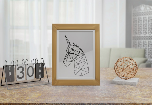 Maquette cadre décoratif sur table à la maison