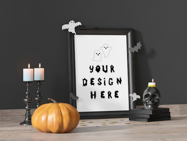 Maquette de cadre de décoration événement halloween avec citrouille et crâne