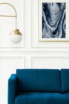 Maquette de cadre esthétique psd dans un salon à la décoration minimale