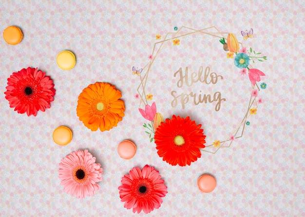 Maquette cadre floral pour le printemps
