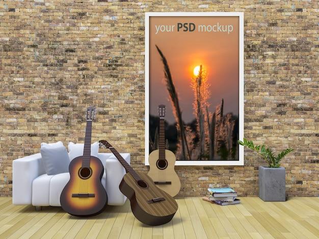 Maquette de cadre avec des guitares