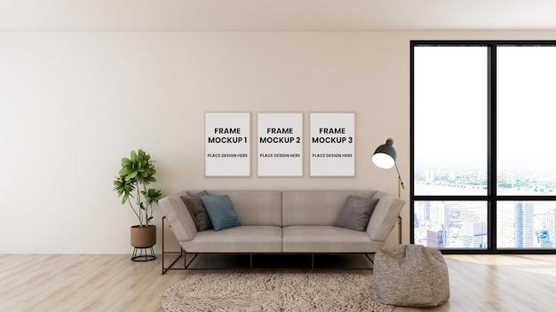 Maquette de cadre sur une maquette 3d de salon minimaliste
