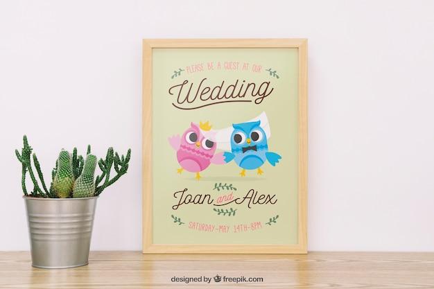 Maquette de cadre de mariage avec plante