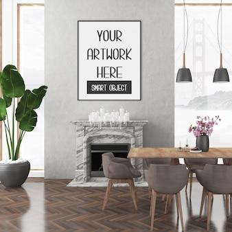 Maquette de cadre sur le mur de la pièce