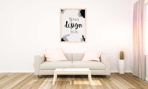Maquette de cadre sur un mur de salon au-dessus du canapé