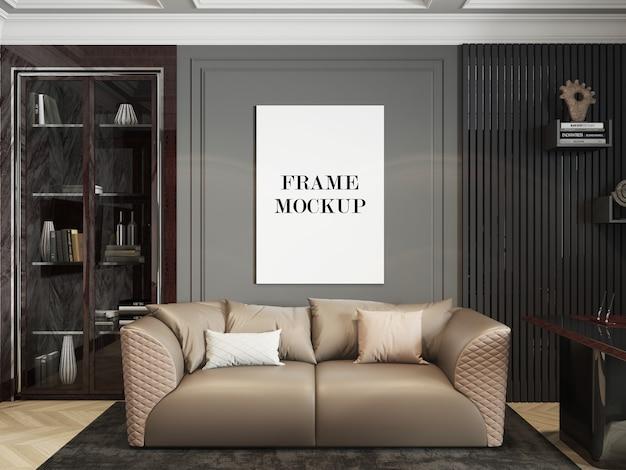 Maquette de cadre mural dans le salon de luxe en rendu 3d