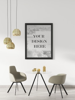 Maquette de cadre mural noir à l'intérieur décoré de meubles et de plafonniers