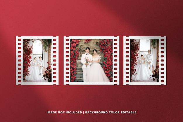 Maquette de cadre en papier de collage de film classique avec ombre