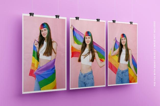 Maquette de cadre de papier photo carré suspendu premium psd