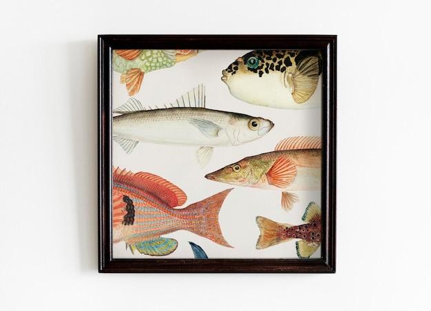 Maquette de cadre photo accrochée au mur