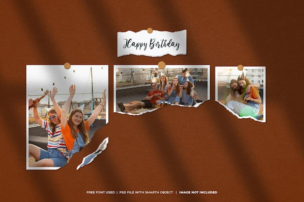 Maquette de cadre photo d'anniversaire moodboard
