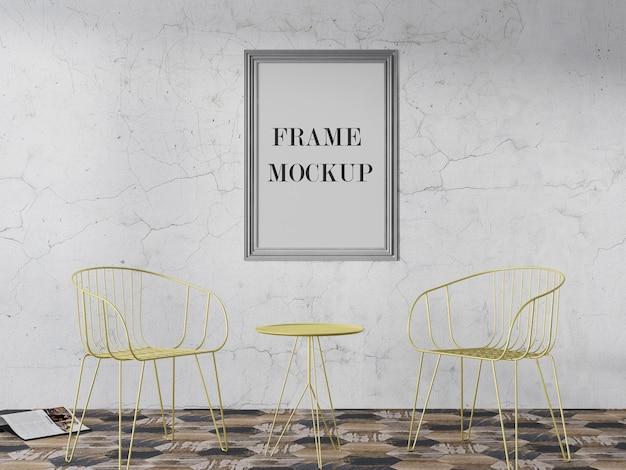 Maquette de cadre photo argenté sur le mur