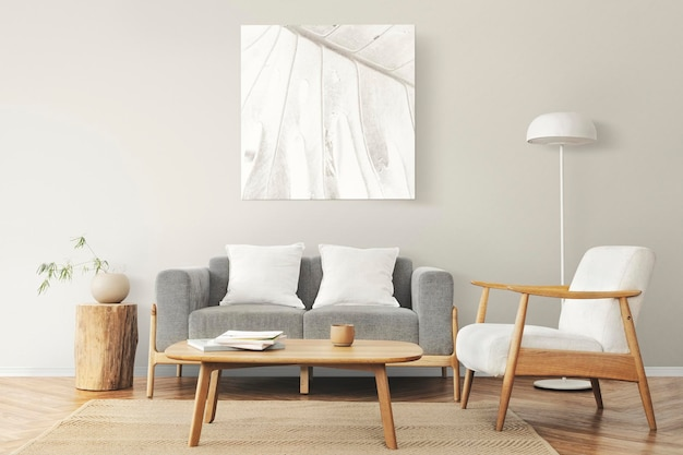 Maquette de cadre photo au design scandinave