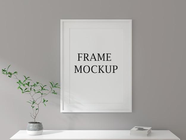 Maquette de cadre photo blanc sur mur gris
