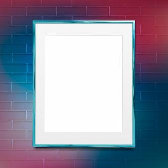 Maquette de cadre photo bleu