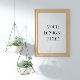 Maquette de cadre photo en bois avec panier de jardinière suspendu